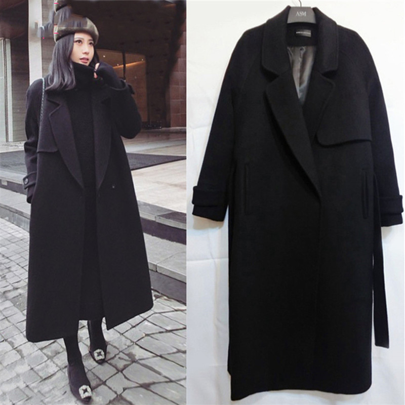Spring Autumn Winter New Women's Casual Wool Blend Trench Coat Oversize Long Coat With Belt Women Wool Coat Cashmere Outerwear