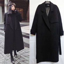Spring Autumn Winter New Women's Casual Wool Blend Trench Coat Oversize Long Coat with belt Women Wool Coat Cashmere Outerwear(China)
