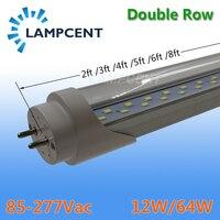 15 30/pack Super Bright LED Tube Bulb 2ft 3ft 4ft 5ft 6ft Double Row Lights T8 G13 Fluorescent Retrofit Lamp Daylight Lighting