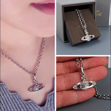Silver Plated Cool Crystal Saturn Chain Necklace For Women Shining Star Pendant Long Chain Necklace Jewelry thailand imports cool black star silver pendant