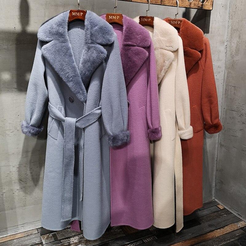 4 colori di Moda Lungo maglione di Cachemire Reale Cappotto di Pelliccia Delle Donne Con Naturale Collo di Pelliccia di Visone Inverno Addensare Warm Giacca di Tuta Sportiva Femminile