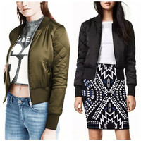 Zanzea Fashion High Quality Women Coats Jackets Stand Collar Long Sleeve Bomber Short Coat Casual Women
