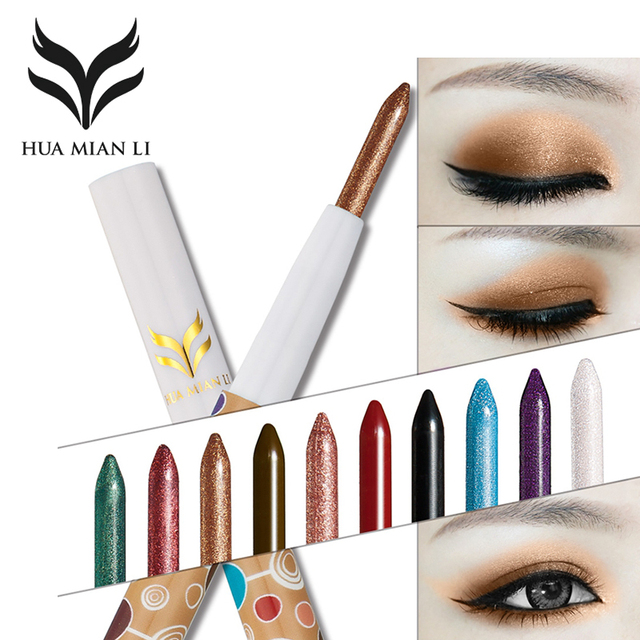 Huamianli 10 Colors Eye Shadow Eyeliner Combo Pen Shimmer Matte