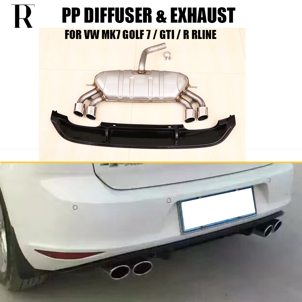 MK7 PP Rear Bumper Diffuser with Exhaust for VW MK7 Golf 7 Standard & GTI & R RLINE 2014 - 2017 for vw golf gti 7 vii mk7 2014 2015 red lens led rear bumper reflector light lamp