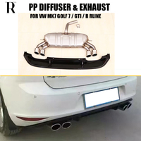 MK7 PP Rear Bumper Diffuser with Exhaust for VW MK7 Golf 7 Standard & GTI & R RLINE 2014 2017