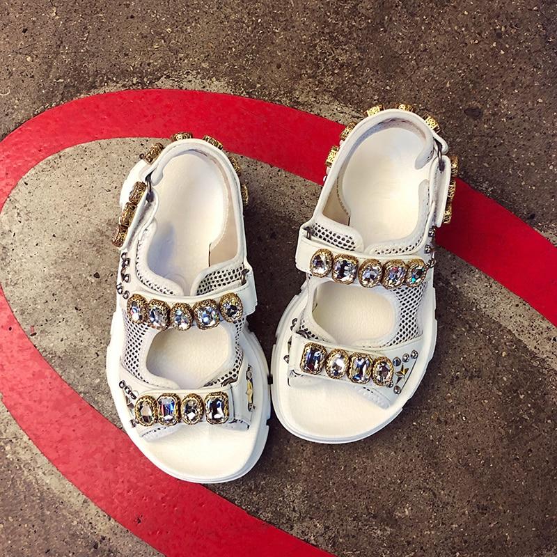 HTB1Kh7QOXzqK1RjSZFvq6AB7VXat Hollow out open-toed women sandals fashion diamond beads women outdoor wedge shoes Women Waterproof platform Summer shoes 2019
