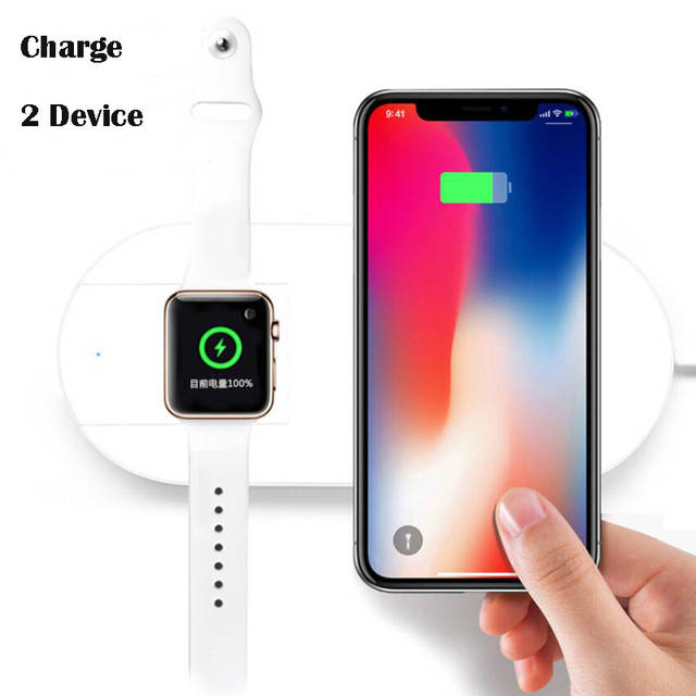 1c27ab7def5e3 2 In 1 Universal QI Wireless Charger for iPhone X 8 Plus XR XS MAX for  Apple Watch Series iWatch 1 2 3 4 Fast Wireless Charger-in Wireless Chargers  from ...