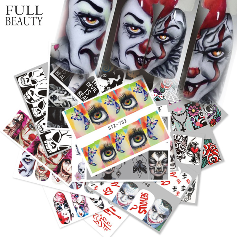 25pcs Nail Stickers Halloween Sets Skull Bone DIY Slider Nail Art Water Decals Manicure Decoration Wraps Nail Foils CHSTZ731 755-in Stickers & Decals from Beauty & Health