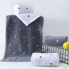 2pcs Love pattern Cotton bath towel set Christmas gift bath towels for adults for Couple white gray Lover's towels цена