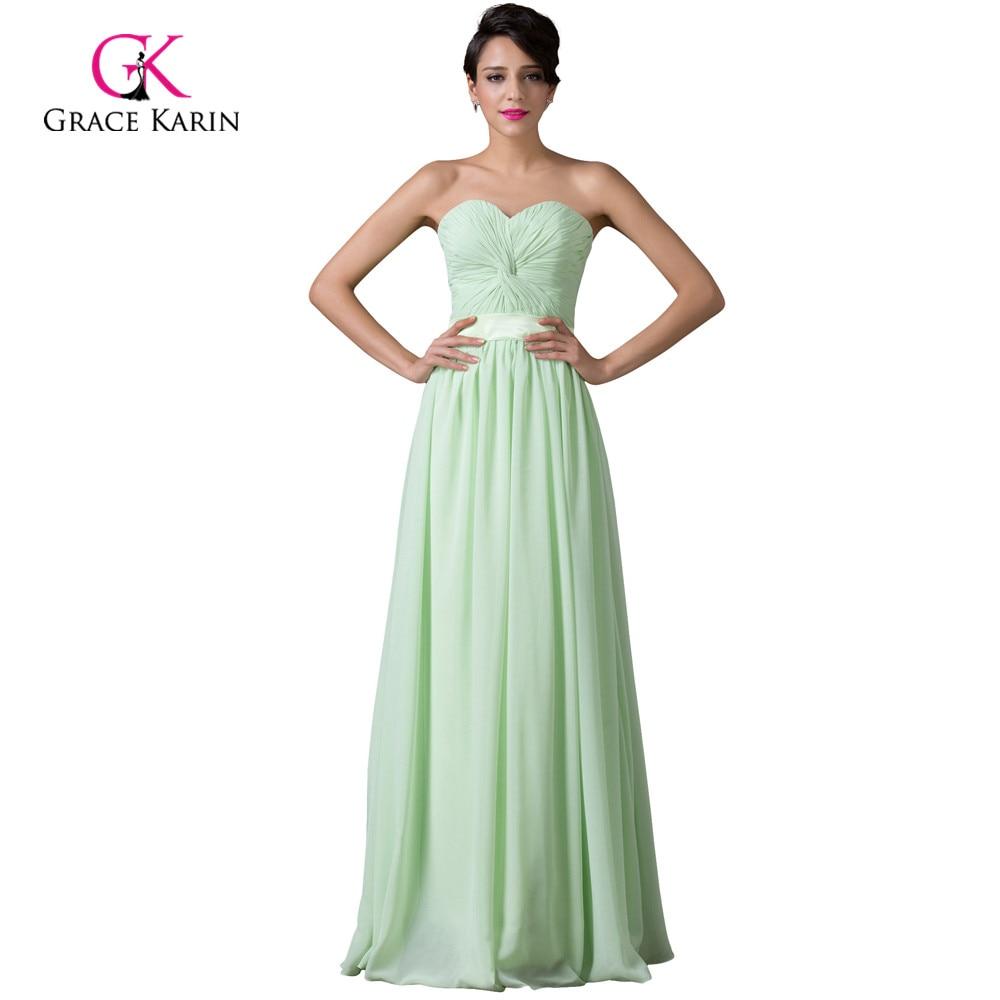 Modest Grace Karin Cheap Long Mint Green Bridesmaid Dresses Under 50