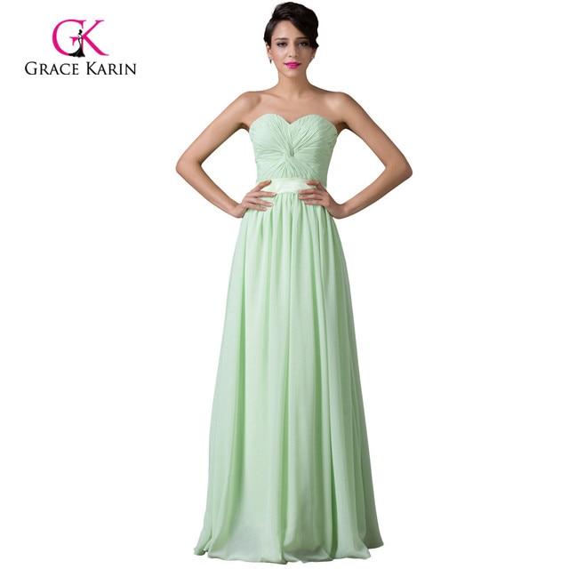 Modest Grace Karin Long Mint Green Bridesmaid Dresses Under 50 Chiffon Bridesmaids Dress 2018 Vestidos