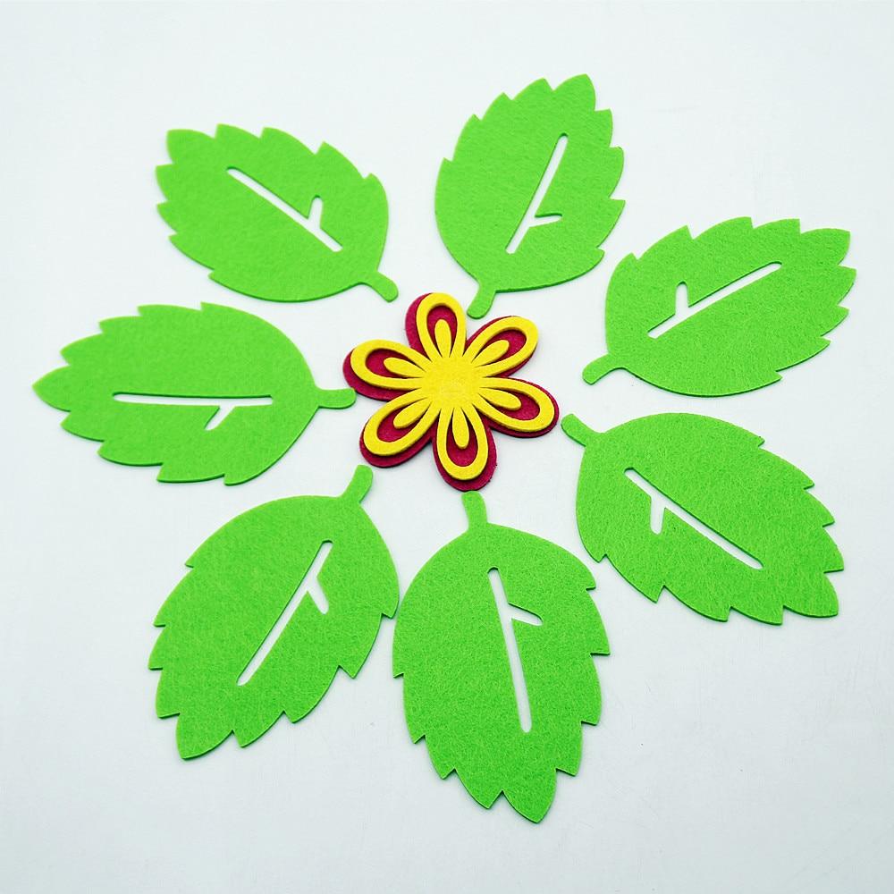DIY 400pcs Green Holly leaves Felt Appliques for Christmas Decoration DIY 36mm