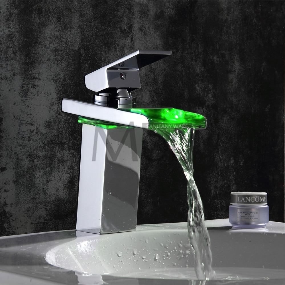 Free shipping soild brass chrome finish bathroom faucet led ...