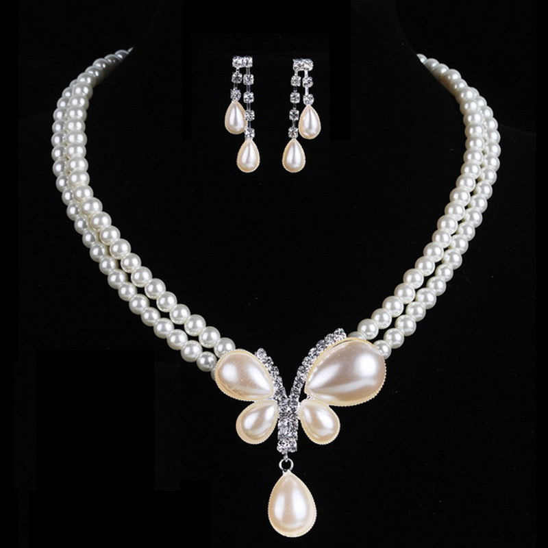 Charming Bride wedding Pearl Jewelry Set Crystal Pendant Necklaces Earring Fashion wedding Jewelry Accessories