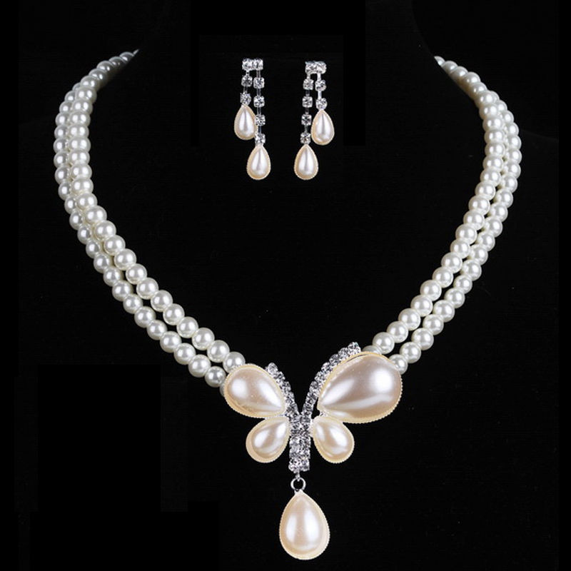 Charming Bride Wedding Real Pearl Jewelry Set Crystal