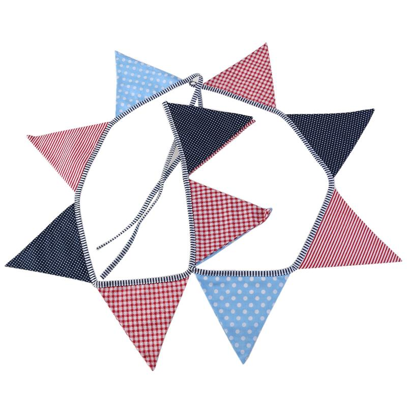 12pcs Cotton Fabric Kids Birthday Hanging Triangle Flags Pennant ...