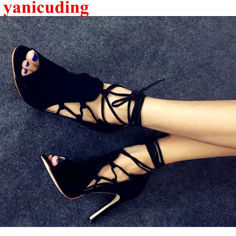 Peep Toe Women Pumps High Thin Heel Ankle Strap Suede Shoes Sapato Feminino Lace Up Hot Brand Star Runway Shoes Mujer Sandalia pointed toe butterfly knot decor women pumps high heel sapato feminino chic brand runway star shoes bow tie women zapatos mujer
