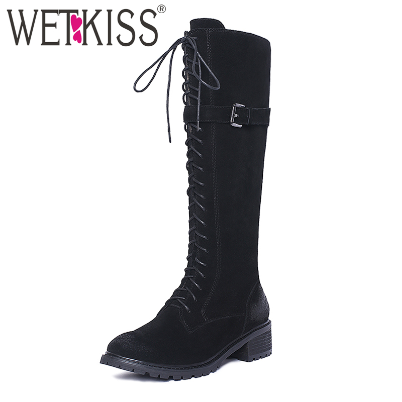 WETKISS Big Size Genuine Suede Leather Knee Boots Women Cross tied Zipper Winter Boots Female Chunky Heels Platform Shoes Woman цена