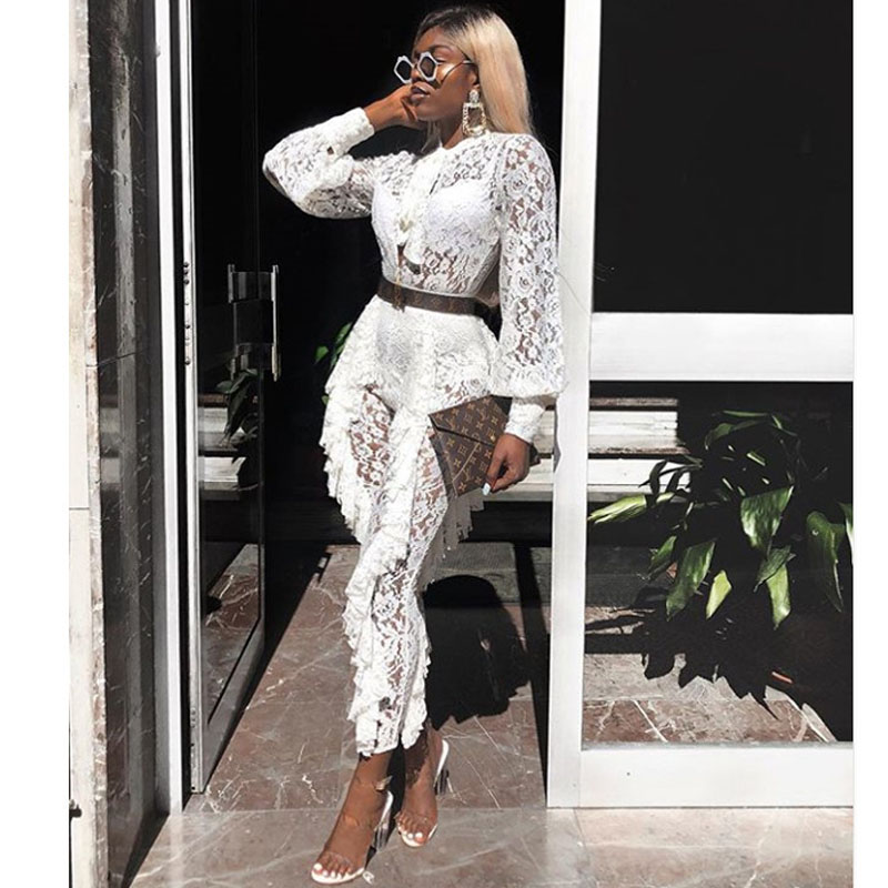 2018 New Fashion Lace Jumpsuits Sexy Women Ruffles Jumpsuits Full Length White Mesh Bodycon Club Rompers Party Jumpsuit Dropship