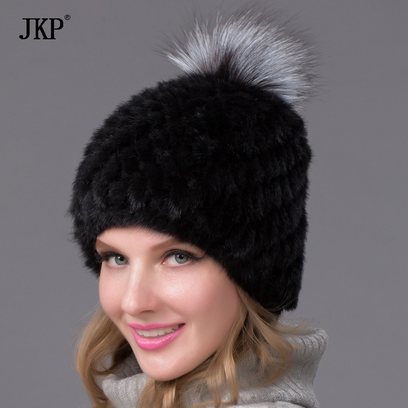 Russian Real Mink Fur Hat for Women Winter Mink Pom Pom Hats Fur Hat Fox Fur Hat for Girls  BZ-05 russian hats for extremely cold fur hat guarantee 100