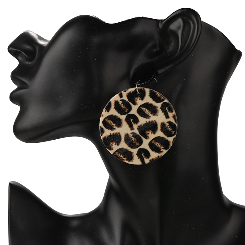 AENSOA Unique Design Vintage Leopard Wood Round Pendant Earrings African Sexy Leopard Big Drop Earrings For Women Wooden Jewelry