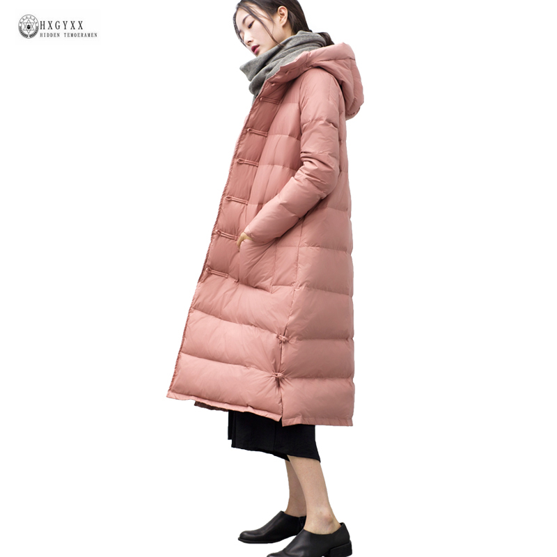 2018 New Large Women Winter Down Coat Vintage Chinese Button X-long Hooded Down Jackets Female Outerwear Warm Winter Coat OK1051