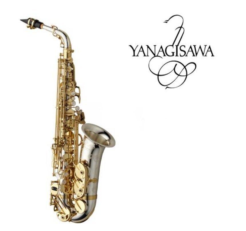 Marca nueva YANAGISAWA A-WO37 saxofón Alto Chapado en níquel oro llave profesional YANAGISAWA Super Play Sax boquilla con funda