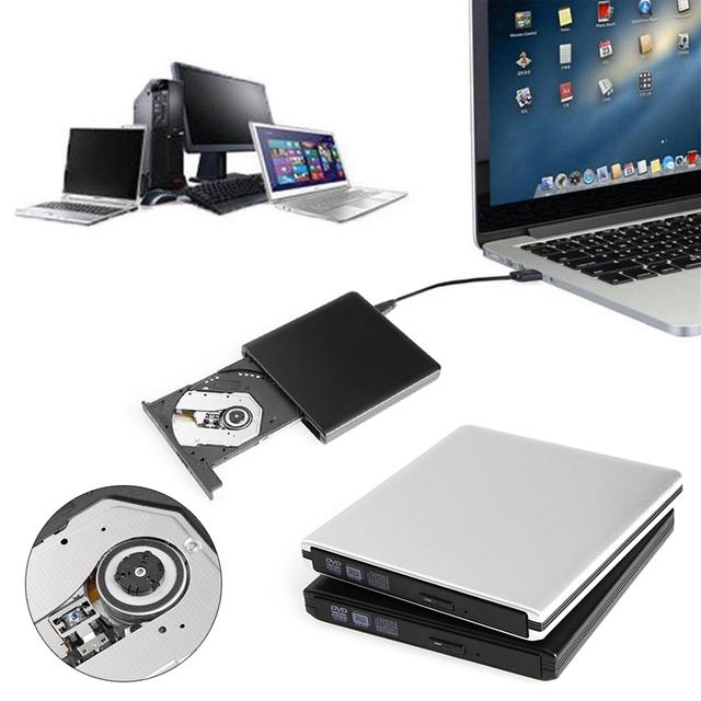 Novo USB 3.0 De Alumínio Lightscribe 8X DVD CD RW Escritor ROM Drive Gravador Externo