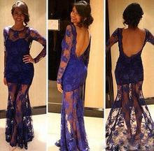 Sexy Lange 2015 Abendkleider Spitze Durchsichtig Mit Rundhalsausschnitt Open Back maß Natürliche Voller Länge Sexy Blau Prom kleider