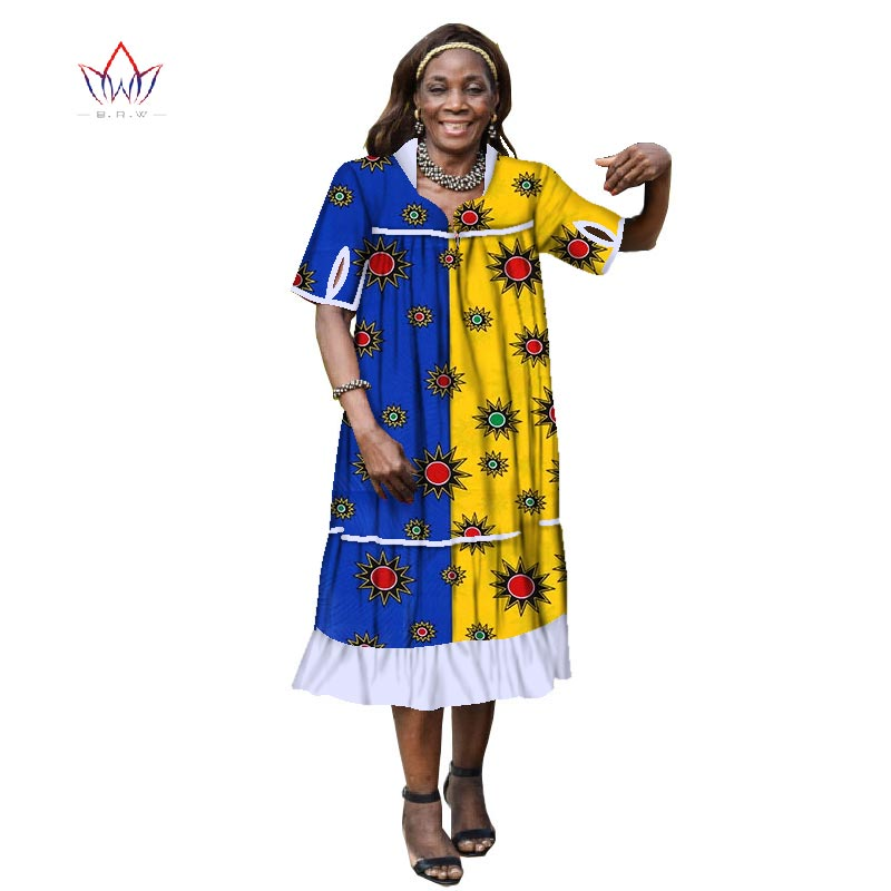 US $48.91 18% OFF|summer Dresses Plus Size dashiki Dress 6XL african  clothing for women short sleeve traditional african clothing casual  WY1882-in ...