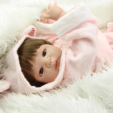 NPK Collection 23 Inch Reborn Babies Full Body Silicone Vinyl Lifelike Princess Girls With Pink Pajamas Kids Birthday Xmas Gift