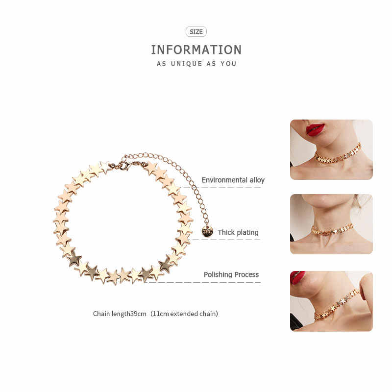 ZEGL star necklace female rose gold necklace clavicle chain fashion personalized neck chain