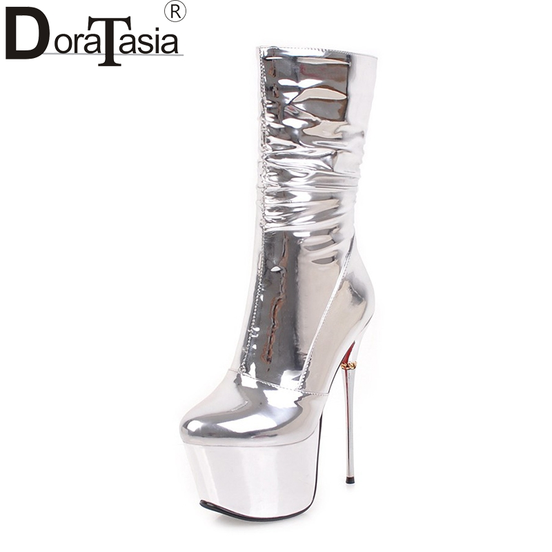 DoraTasia 2017 large size 32-43 thick platform zip up women shoes woman sexy thin high heels party nightclub boots sliver