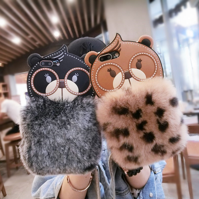 Cartoon PLUSH bear Artificial fur cover for apple iphone 6 6s 6P plus 5.5 iPhone7 7P 8 8P X soft Silicone mobile phone Case