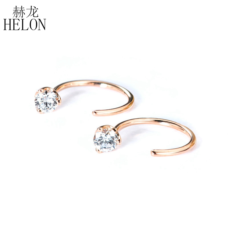 HELON 0.6CT Round F Color Moissanite Lab Grown Diamond Earrings Solid 14K Rose Gold Earrings Women Wedding Trendy Fine Jewelry trendy style solid 14k yellow gold df color moissanite lab grown diamond bracelet charm for women