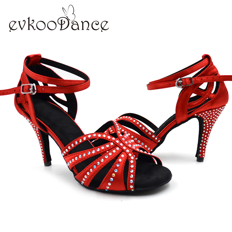 Zapatos de baile latino suede sole Best Seller 8.5cm heel Rhinestones Women Salsa Ballroom Latin Dance shoes with Diamond NL018 цена