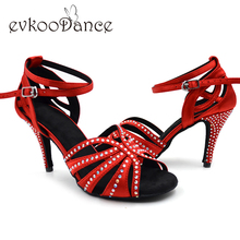 Zapatos de baile latino suede sole Best Seller 8.5cm heel Rhinestones Women Salsa Ballroom Latin Dance shoes with Diamond NL018