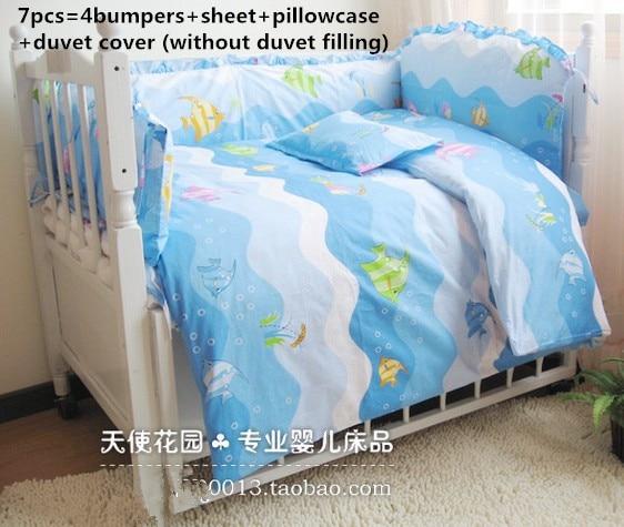 ФОТО Promotion! 6/7PCS Fish baby bedding set 100% cotton crib bumper baby cot sets  ,Duvet Cover ,120*60/120*70cm
