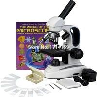 Школьные Микроскоп AmScope поставки 40X 1000X Стекло Объектив металлический каркас C & F светодиодный соединения микроскоп + Slide Kit и книги