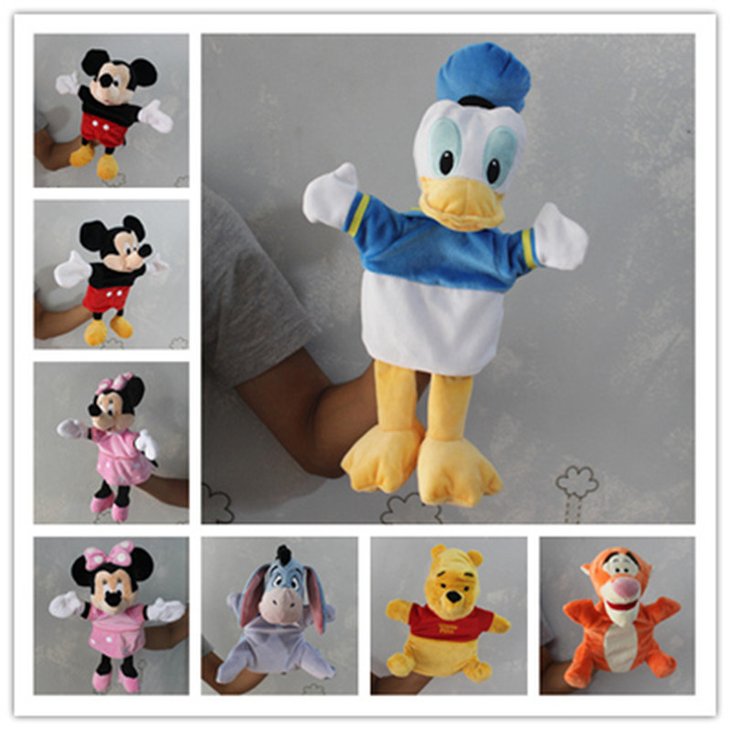 6pcs/lot Original Mickey Mouse Minnie mouse Donald Duck Tigger Plush hand puppet Toys Gifts For reborn baby soft hand puppe toys