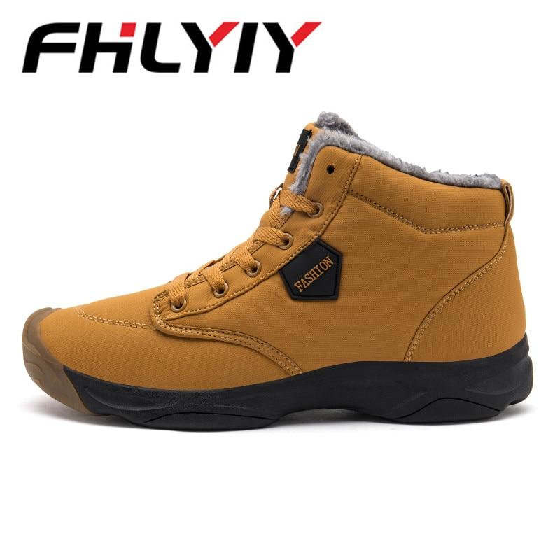 Ankle Boots For Men Leather Boots New Warm Short Plush Men'S Shoes Men Snow Boots Solid Outdoor Male Shoes Black Botas Hombre стоимость