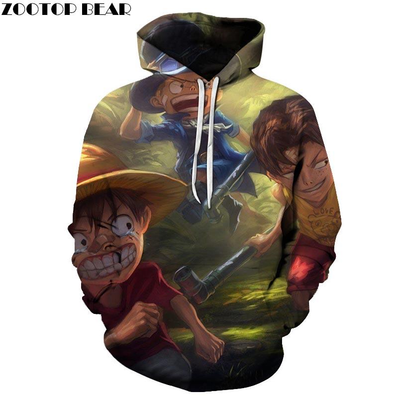 Funny One Piece 3D Printed Hoodies Men Women Sweatshirts Hooded Tracksuits Pullover Streetwear Spring Coat ZOOTOP BEAR Drop Ship