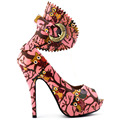 LF30444 Sexy Multi-Color Owl Peeptoe Gladiator Platform Stiletto Pumps Pink/Neon Yellow