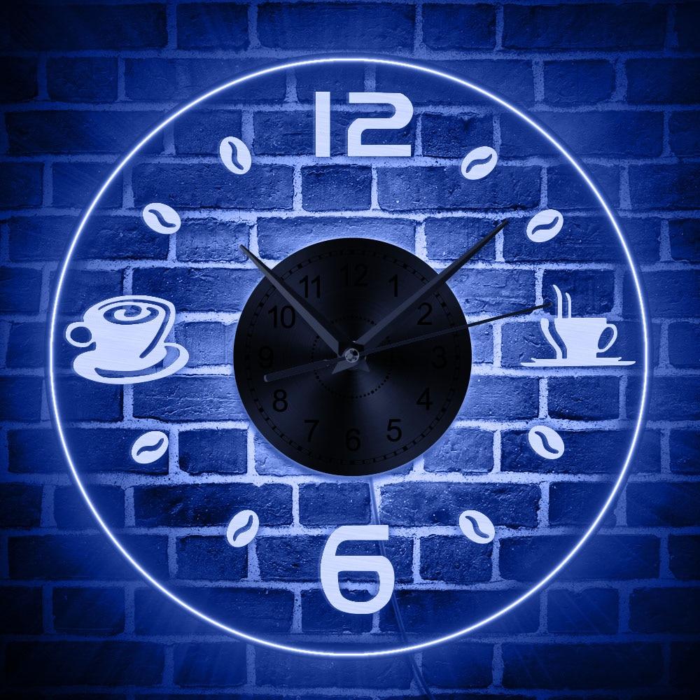 Coffee Vintage Design Illuminated Wall Clock Coffee Bean LED Lighting Business Neon Sign Cafe Kitchen Wall Art Coffee Bar Decor