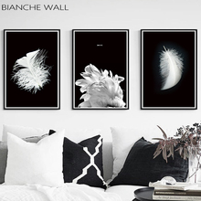 Feather Nordic Black and White Fine Canvas Art Poster Style Print Painting Abstract Wall Picture for Living Room Decor