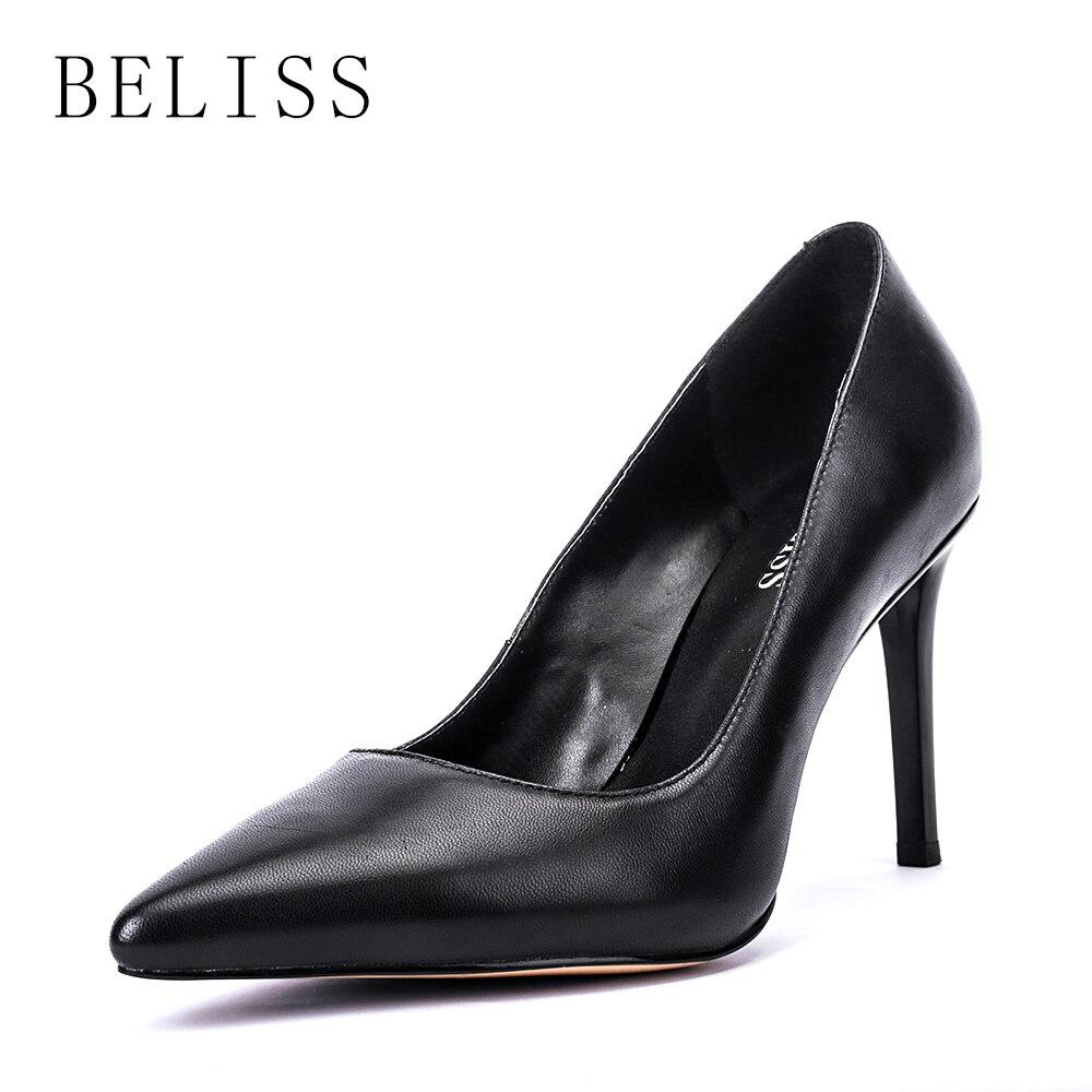 BELISS 2019 black classic women shoes thin high heels elegant wedding ladies pumps genuine leather woman pointed toe X6