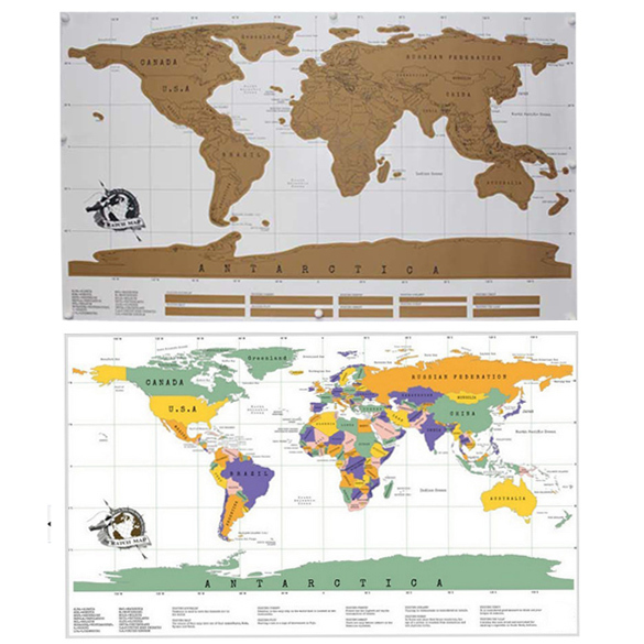 Travel Scratch Off Map Personalized World Map Poster Traveler Vacation Log National Geographic Wall Sticker Home Decoration
