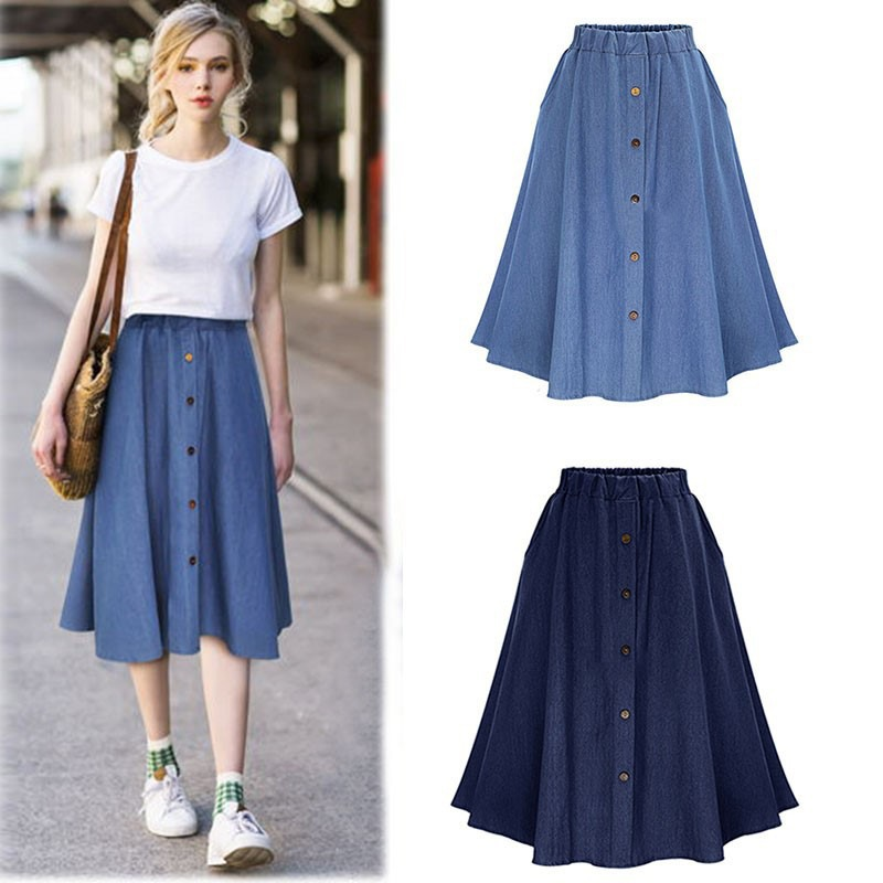 Fashion Korean Style Denim Skirts Women Long Solid Button Harajuku Casual Skirt High Waist Female Big Hem Jean Skirt 2018 New F2