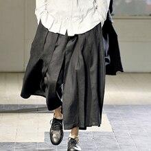 Мужские брюки больших размеров 27-44, мужские брюки-кюлоты с широкими штанинами, повседневные штаны с вырезами, одежда певицы больших размеров