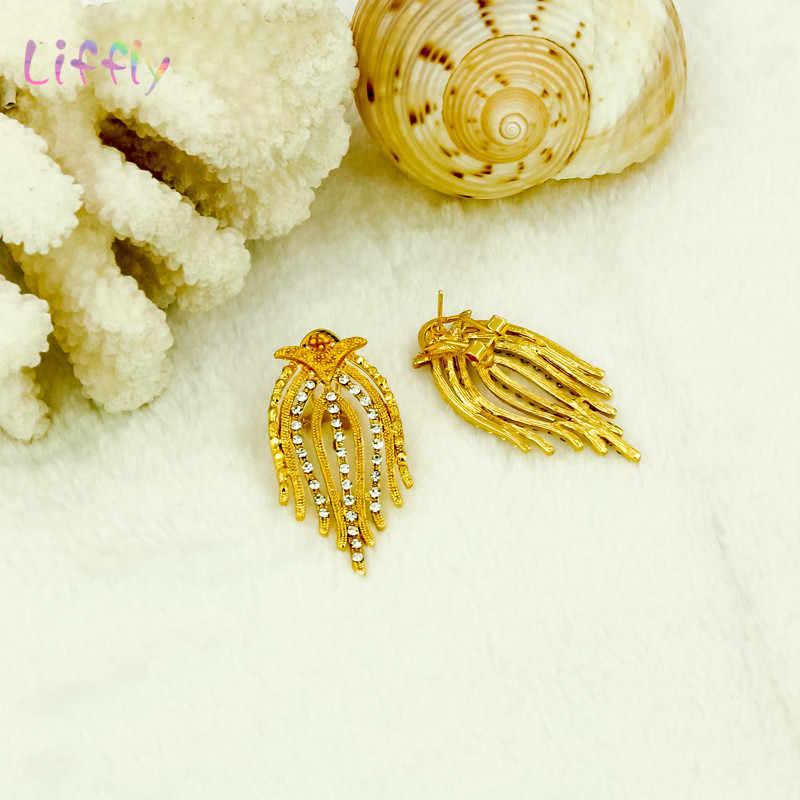 Liffly ensembles de bijoux de mode Nigeria Dubai or ensembles de bijoux pour les femmes afrique perle mariée jaune ensemble de bijoux cadeaux de mariage
